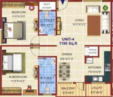 Sreenidhi Elite (2BHK+2T (1,190 sq ft) Apartment 1190 sq ft)