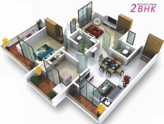 GBK Vishwajeet Meadows (2BHK+2T (1,061 sq ft) Apartment 1061 sq ft)