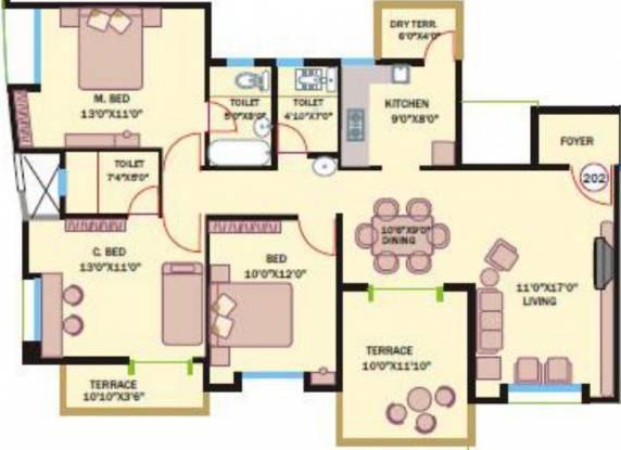 Bhandari Savannah (3BHK+3T (1,352 sq ft) Apartment 1352 sq ft)