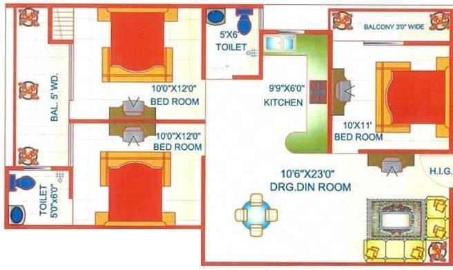 Adarsh Apartment 7 (3BHK+2T (1,100 sq ft) Apartment 1100 sq ft)