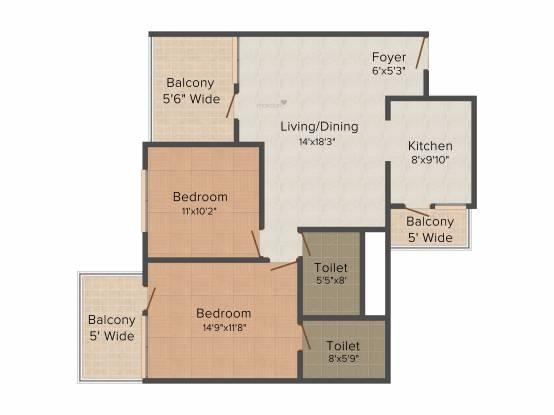 TDI Wellington Heights (2BHK+2T (1,160 sq ft) Apartment 1160 sq ft)