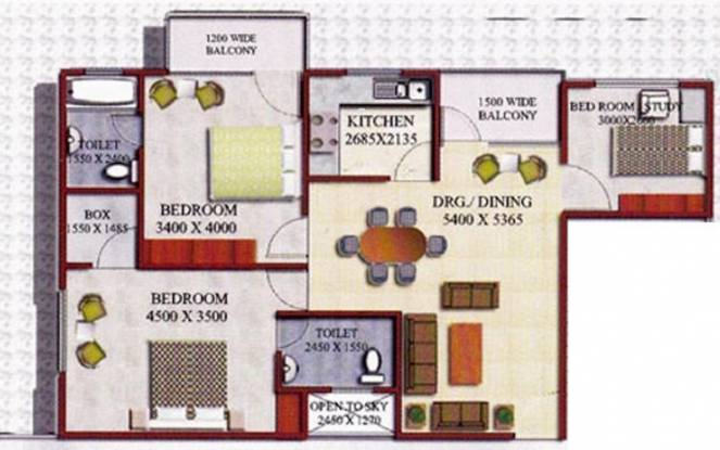 Godawari Agrasen Heights (2BHK+2T (1,367 sq ft) + Study Room Apartment 1367 sq ft)