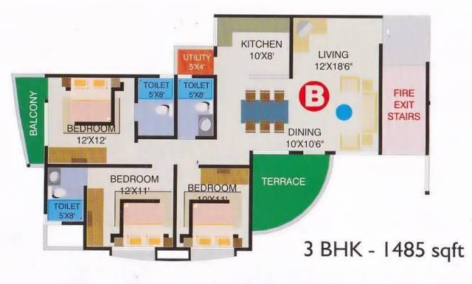 Ideal Einion Carnation (3BHK+3T (1,485 sq ft) Apartment 1485 sq ft)