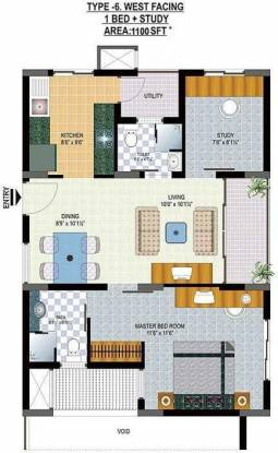 Hill County Hill County Apartment (1BHK+2T (1,100 sq ft)   Study Room Apartment 1100 sq ft)