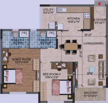 Purva Westend (2BHK+2T (1,195 sq ft) Apartment 1195 sq ft)