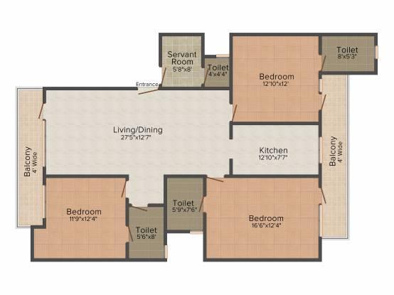Omaxe Cassia (3BHK+3T (1,725 sq ft)   Servant Room Apartment 1725 sq ft)