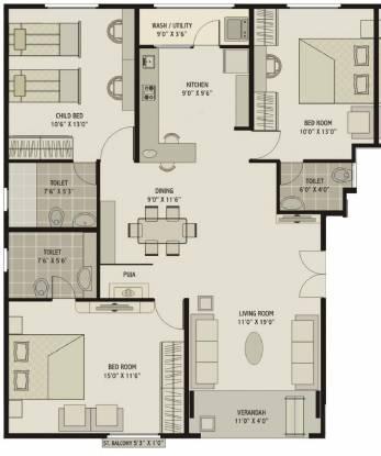 Shagun Classic (3BHK+3T (1,775 sq ft) + Study Room Apartment 1775 sq ft)