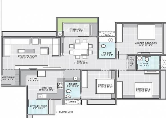 Gala Aria (3BHK+3T (2,115 sq ft) Apartment 2115 sq ft)