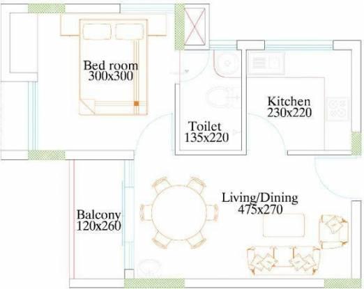 Kalpaka Kalpaka Vrindavan (1BHK+1T (533 sq ft) Apartment 533 sq ft)