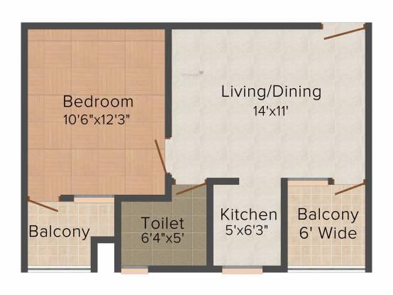 SBP Southcity (1BHK+1T (700 sq ft) Apartment 700 sq ft)