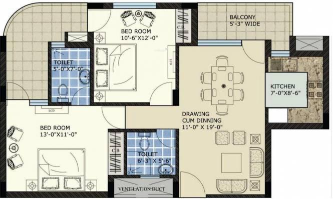 SBP North Valley (2BHK+2T (1,290 sq ft) Apartment 1290 sq ft)