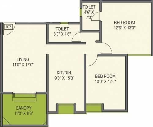 Kohinoor Latis (2BHK+2T (1,200 sq ft) Apartment 1200 sq ft)