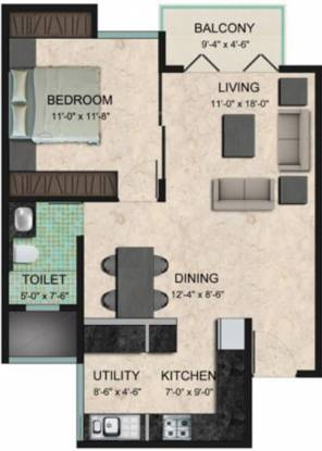 Zonasha Vista (1BHK+1T (780 sq ft) Apartment 780 sq ft)