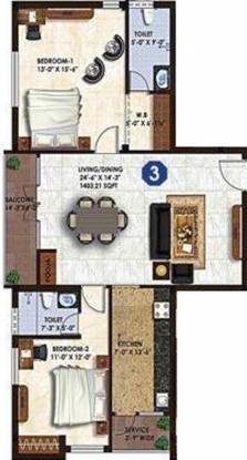 Star Star Dazzle (2BHK+2T (1,403 sq ft) Apartment 1403 sq ft)