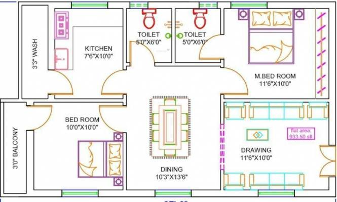 Sanman Belmor (2BHK+2T (933 sq ft) Apartment 933 sq ft)