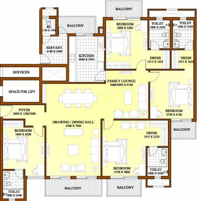 ATS Dolce (4BHK+4T (2,800 sq ft) + Servant Room Apartment 2800 sq ft)