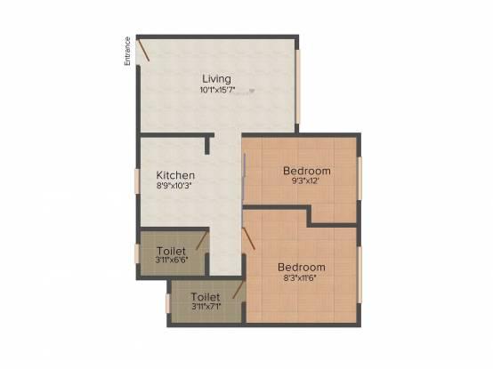 Sumit Sumit Artista (2BHK+2T (865 sq ft) Apartment 865 sq ft)