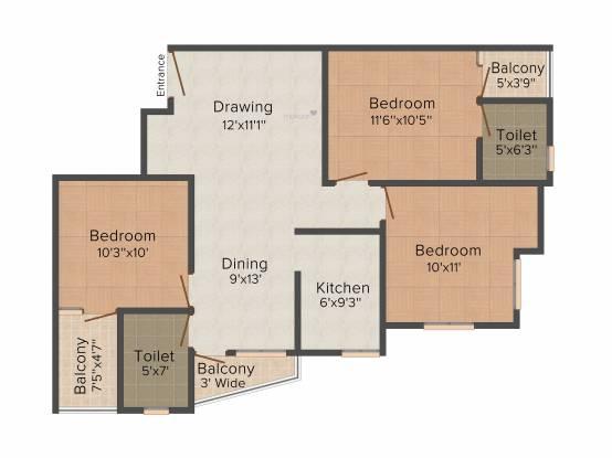 Namrata Royal (3BHK+3T (1,304 sq ft) Apartment 1304 sq ft)