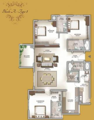 Legacy Eldora (3BHK+4T (2,215 sq ft) + Servant Room Apartment 2215 sq ft)