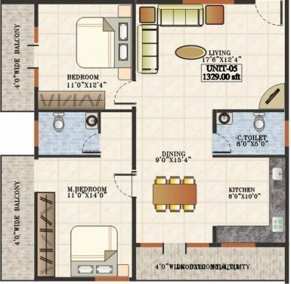 Aditya Mother Palace (2BHK+2T (1,315 sq ft) Apartment 1315 sq ft)