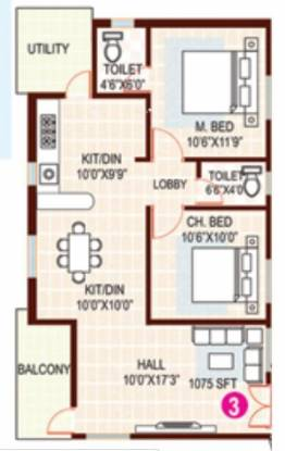 AV Hare Ram Residency (2BHK+2T (1,075 sq ft) Apartment 1075 sq ft)