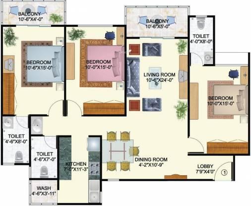 Mirchandani Shalimar Palms (3BHK+3T (1,640 sq ft) Apartment 1640 sq ft)