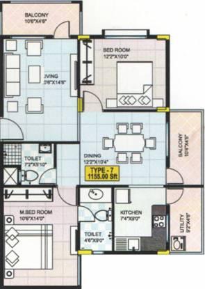 Sahithi Daisy (2BHK+2T (1,155 sq ft) Apartment 1155 sq ft)