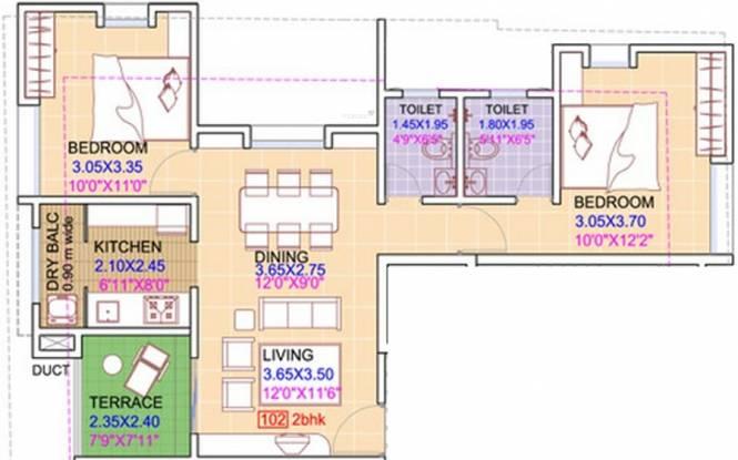 Swojas Sargam (2BHK+2T (1,020 sq ft) Apartment 1020 sq ft)