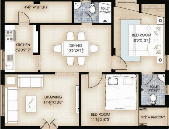 VINTCS Nerella Residency (2BHK+2T (990 sq ft) Apartment 990 sq ft)