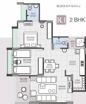 Navkar Kalasagar Heights (2BHK+2T (1,215 sq ft) Apartment 1215 sq ft)