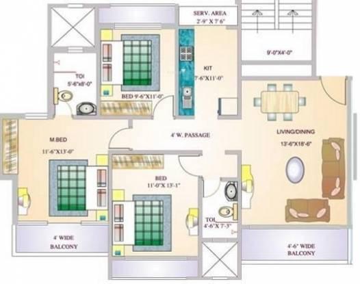 G Corp Bellagio (3BHK+2T (1,425 sq ft) Apartment 1425 sq ft)
