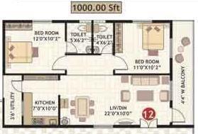 Amrutha Residency (2BHK+2T (1,000 sq ft) Apartment 1000 sq ft)