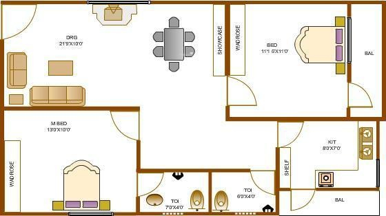 Environ Towers (2BHK+2T (937 sq ft) Apartment 937 sq ft)
