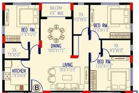 Arihant Viento (3BHK+3T (1,539 sq ft) Apartment 1539 sq ft)
