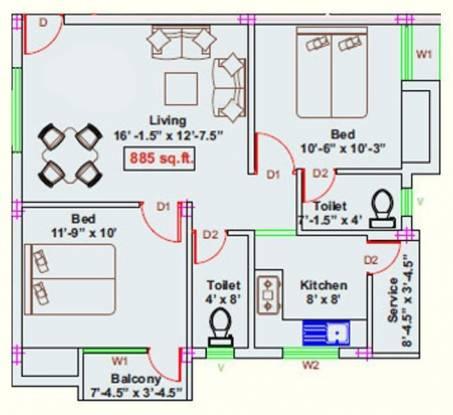 RKN Jayam Flats (2BHK+2T (885 sq ft) Apartment 885 sq ft)