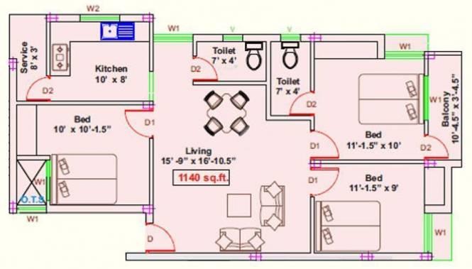 RKN Jayam Flats (3BHK+2T (1,140 sq ft) Apartment 1140 sq ft)
