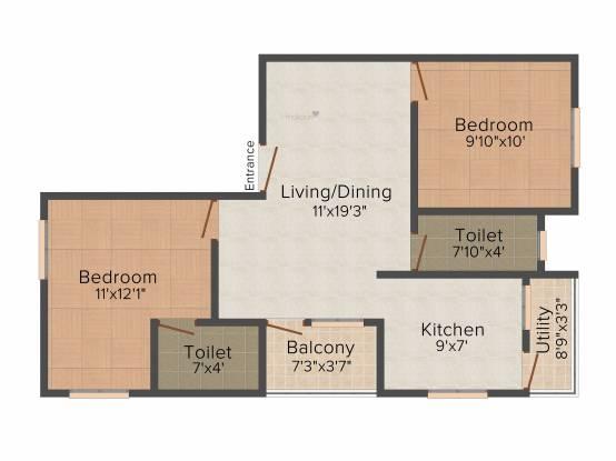 Rajni Radhe Saai (2BHK+2T (857 sq ft) Apartment 857 sq ft)
