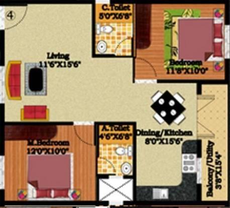 DS DSMAX STREAK NEST (2BHK+2T (1,085 sq ft) Apartment 1085 sq ft)