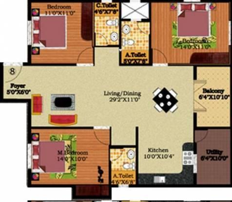 DS DSMAX STREAK NEST (3BHK+3T (1,442 sq ft) Apartment 1442 sq ft)