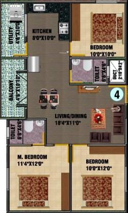 DS DSMAX SAVIOR (3BHK+2T (1,245 sq ft) Apartment 1245 sq ft)