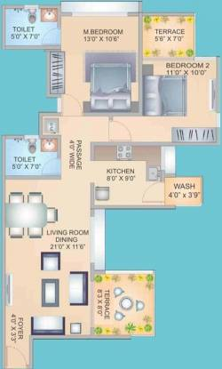 S&M The Palazzo (2BHK+2T (1,145 sq ft) Apartment 1145 sq ft)