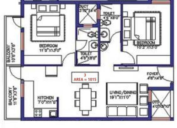 Saveria Livinston (2BHK+2T (1,015 sq ft) Apartment 1015 sq ft)
