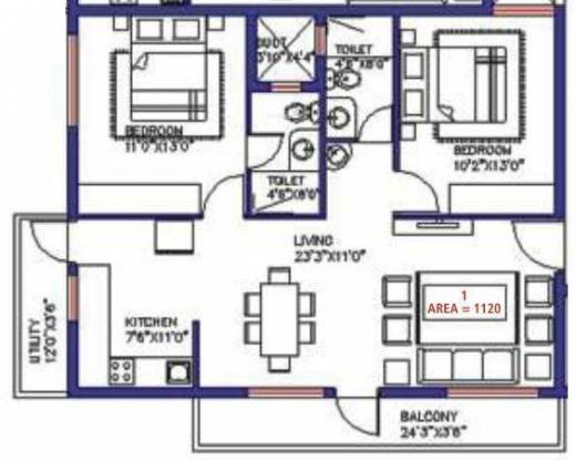 Saveria Livinston (2BHK+2T (1,120 sq ft) Apartment 1120 sq ft)