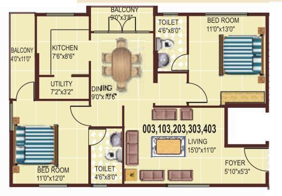 Charitha Blossom (2BHK+2T (1,115 sq ft) Apartment 1115 sq ft)