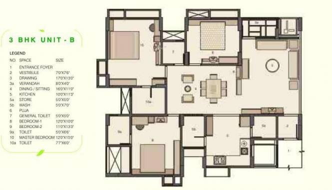 Pacifica Green Acres (3BHK+2T (2,050 sq ft)   Pooja Room Apartment 2050 sq ft)