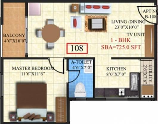 SV Brindavanam (1BHK+1T (725 sq ft) Apartment 725 sq ft)