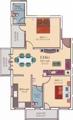 Mahalakshmi Enclave (2BHK+2T (1,160 sq ft) Apartment 1160 sq ft)
