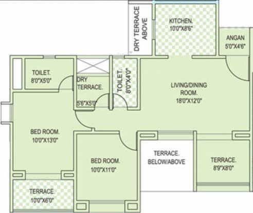 Rohan Silver Palm Grove (2BHK+2T (1,052 sq ft) Apartment 1052 sq ft)