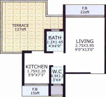 Skyline Aarush Darshan (1BHK+1T (395 sq ft) Apartment 395 sq ft)