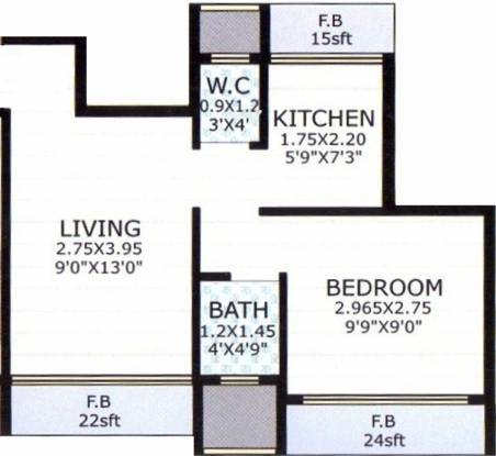 Skyline Aarush Darshan (1BHK+1T (595 sq ft) Apartment 595 sq ft)